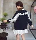 Oversize Angel wings on back embroidery fake two dark blue top shirt dress ML