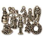 Brass Oxide Finish Lead-Free Pewter Christmas Charm Collection (10 Pieces)