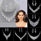Elegant Wedding Women Jewelry Crystal Necklace Earrings Set Mother's Day Gift