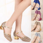Girls Princess Shoes Dancing Shoes Kids Sequins Party Mid Heels Dress Shoes New