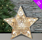 Christmas Wooden Boled Light Up Sign Decoration 24cm Illuminated Wall Window