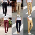New Men Slim Fit Straight-Leg Trousers Casual Solid Pencil Business Long Pants