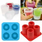 Silicone 4-Cup Shot Glass Mold Cool Shooters Ice Cube Tray Dishwasher Safe Maker