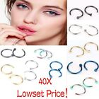 40Pcs Punk Jewelry Surgical Steel Nose Open Hoop Lip Ring Body Piercing Studs