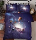 3D Space Planets Bed Pillowcases Quilt Duvet Cover Set Single Queen King Size AU