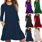 Fashion Women Solid Long Sleeve Pocket Casual Loose T-Shirt Evening Party Dress