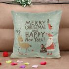 Christmas Linen Square Throw Flax Pillow Case Decorative Cushion Pillow Cover image
