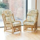 2 Cadiz Cane and Diamond Lattice Conservatory Armchairs - High Back Luxury Cushi