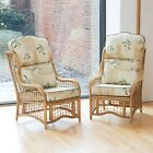 2 Bali Cane and Square Lattice Conservatory Armchairs with High Back Cushions