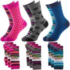 6 Pairs Women's Outdoor Year Round Colorful Crew Socks With Designs Lightweight