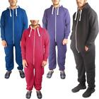New Mens Ladies Hooded Plain All In One Piece Jumpsuit Playsuit Womens Pyjama