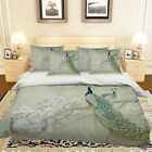 3D Tree Peacocks Bed Pillowcases Quilt Duvet Cover Set Single Queen King Size AU