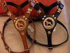 NEW BOXER LEATHER HARNESS WITH BRASS HEADS IN BLACK OR BROWN