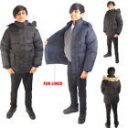 Boys Padded School Jacket Childrens Fur Lined Hooded Puffer Warm Winter Coat