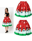 K473F Christmas Skirt High Waist Skater Retro Flared Xmas Rockabilly Vintage 50s