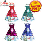 K474 Santa Christmas Vintage Swing Flare 50s Dress Up Snowflake Xmas Rockabilly