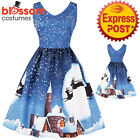 K476 Ladies Blue Santa Christmas Vintage Swing Dress Snowflake Xmas Rockabilly