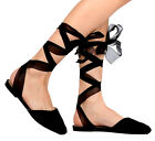 New Black ankle Wrap lace tie up leg strappy close toe Gladiator women sandals