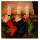 CHRISTMAS LED LIGHT UP CANVAS PICTURES FESTIVE SNOW SCENE WALL ART DECORATION