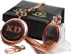 Engraved Pocket Watch Victorian Style Personalised Rose Gold Gift Case Box