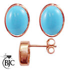 BJC® 9ct Rose Gold Natural Turquoise Oval Stud Earrings 3.00ct Studs Brand New