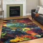 Modern Design Multi Colour Area Rug Contemporary Style Rainbow Rio Carpet Thin