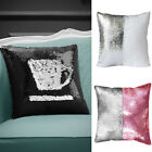"Reversible Mermaid Sequin Glitter Square Cushion 16"" 43cm Bl;ack White Silver"