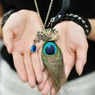 Colorful New Boho Celeb Peacock Feather Crystal Pendant Chain Necklace