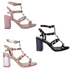 Womens Ladies Studded Caged Mid High Block Heel Gladiator Strappy Shoe Size