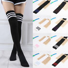 Women Boot Socks Over Knee Thigh High Extra Long Socks Black/White With Stripes
