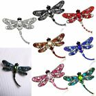 Retro Multifunctional Necklace/Brooch Pin Crystal Dragonfly Pendant Chain Women