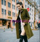 Womens Double Breasted Long Slim Wool Blend Overcoat Thick Military Trench Coat