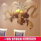 3D Mirror Flower Art Wall Sticker Mural Decal Home Stylish Decor Stock US Stock