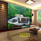 3D Wallpaper Bedroom Mural Green waterfall scenery TV Background Wall BJ1070