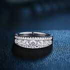 Round White AAA CZ 925 Sterling Silver Wedding Engagement Ring Band Size 5-10