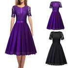 Retro 1950s Lady Satin Lace Spliced Cocktail Party Evening Swing Floral Dress