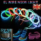 5M Fluorescent EL Wire Neon LED Light Glow Strip Tube Rope Party Xmas Decro UK