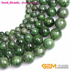 """AA Grade Natural Green Diopside Semi Gemstone Round Beads for Jewelry Making 15"""""""