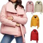 Ladies Womens Puffer Jacket Padded Baggy Oversized Collar Tie Detail Coat Top