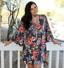 PLUS SIZE OLIVE FLORAL CUTOUT FLARE FULL CUT BELL SLEEVE DRESS USA 1X 2X 3X