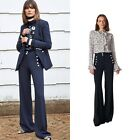 Veronica Beard ADLEY PANTS Wide-leg with pearly buttons black/Navy NEW$395 us 4