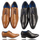 Mens Faux Leather Smart Black Brown Formal Lace Up Shoes Size UK 7 8 9 10 11 12