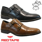 NEW MENS LEATHER BROGUE SMART OFFICE WEDDING WORK CASUAL FORMAL MONK STRAP SHOES