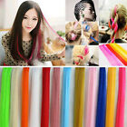 3X Womens Multi Color Long Straight Slice Clip in on False Hair Pieces Extension