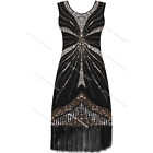 Vintage 1920s Flapper Beaded Dress Charleston Gatsby Party Deco Fringed Costume