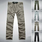 Mens Quick Dry Zip Work Cargo Combat Pants Shorts Outdoor Hiking Trousers Camp