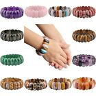 Semi Precious Oval Stone Assorted Crystal Stretch Bangle Bracelet For Women Man