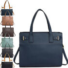 A4 Women Faux Leather Grab Bags Large IPad College Shoulder Handbags Long Strap