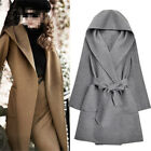Chic Womens Double-side Hooded Wool Blend Long Belted Slim Waistband Trench Coat