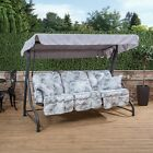 Roma 3 Seater  Garden Patio Swing Seat - Charcoal Frame with Classic Cushions